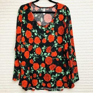 LuLaRoe Lynnae Red Roses Long Sleeve Plus Size